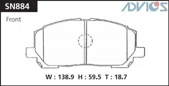 Дисковые тормозные колодки ADVICS SN884 SN884 купить в Абакане