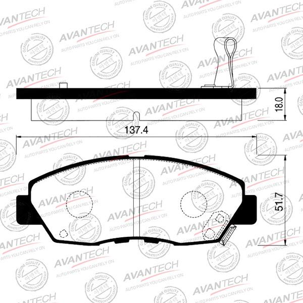 Колодки тормозные дисковые Avantech (противоскрипная пластина в компл.) - AV1020 AV1020 купить в Абакане