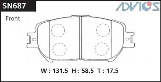 Дисковые тормозные колодки ADVICS SN687 SN687 купить в Абакане