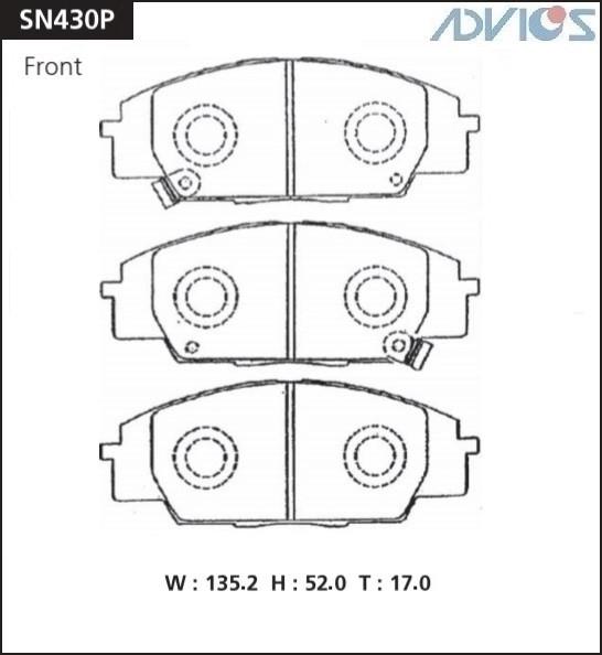 Дисковые тормозные колодки ADVICS SN430P SN430P купить в Абакане