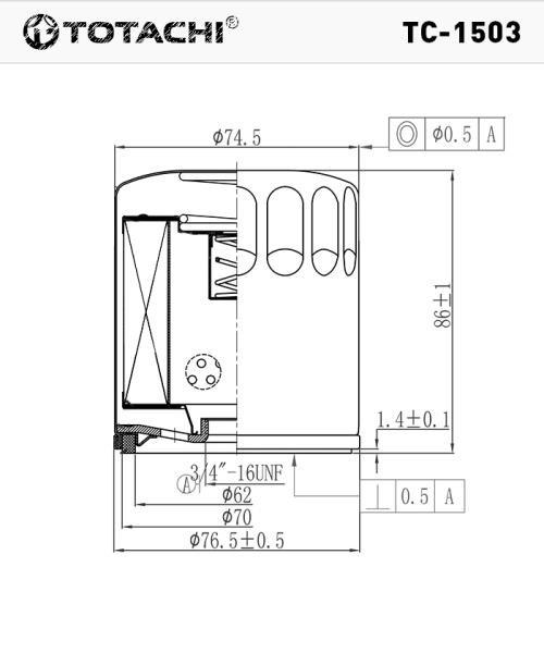 Масляный фильтр TOTACHI TC-1503 1S7G-6714-CA W 7015 TC-1503 купить в Абакане