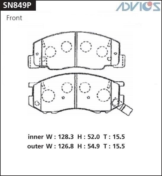 Дисковые тормозные колодки ADVICS SN849P SN849P купить в Абакане