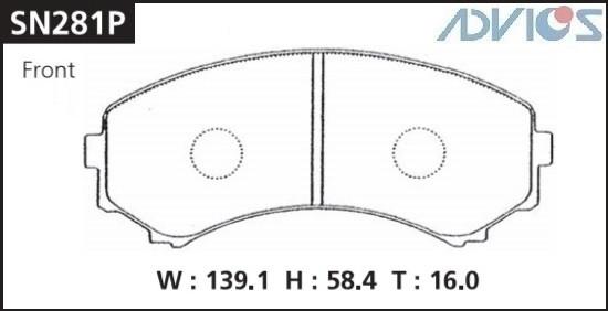 Дисковые тормозные колодки ADVICS SN281P SN281P купить в Абакане