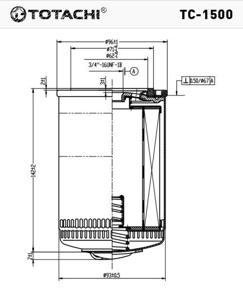 Масляный фильтр TOTACHI TC-1500 96985730 W 6021 TC-1500 купить в Абакане