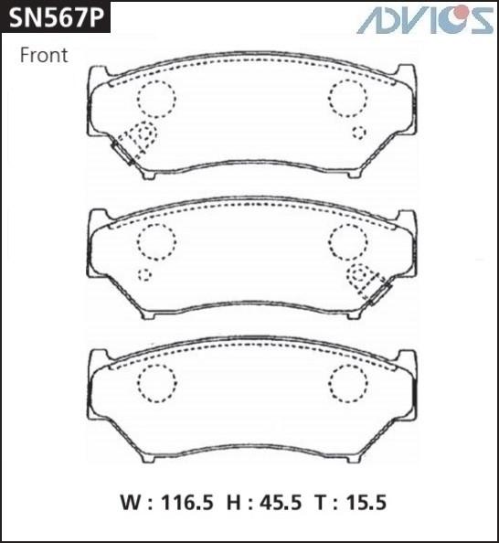 Дисковые тормозные колодки ADVICS SN567P SN567P купить в Абакане