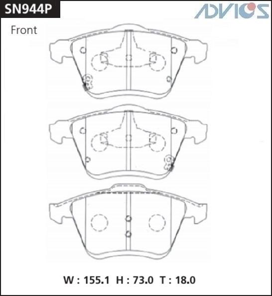Дисковые тормозные колодки ADVICS SN944P SN944P купить в Абакане