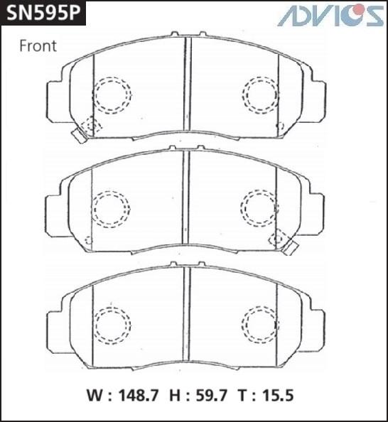 Дисковые тормозные колодки ADVICS SN595P SN595P купить в Абакане