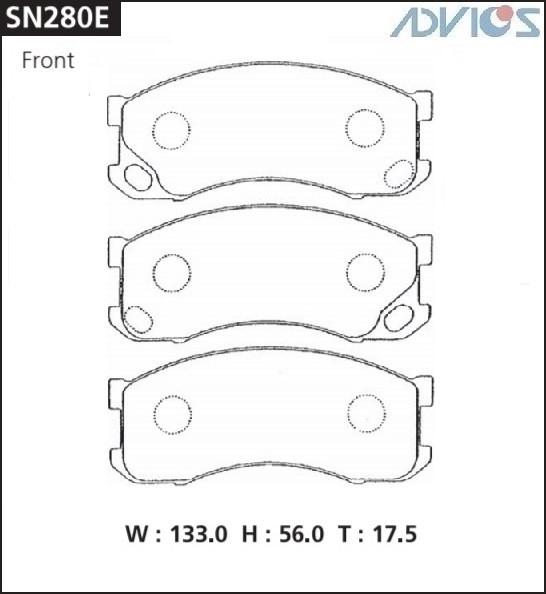 Дисковые тормозные колодки ADVICS SN280E SN280E купить в Абакане