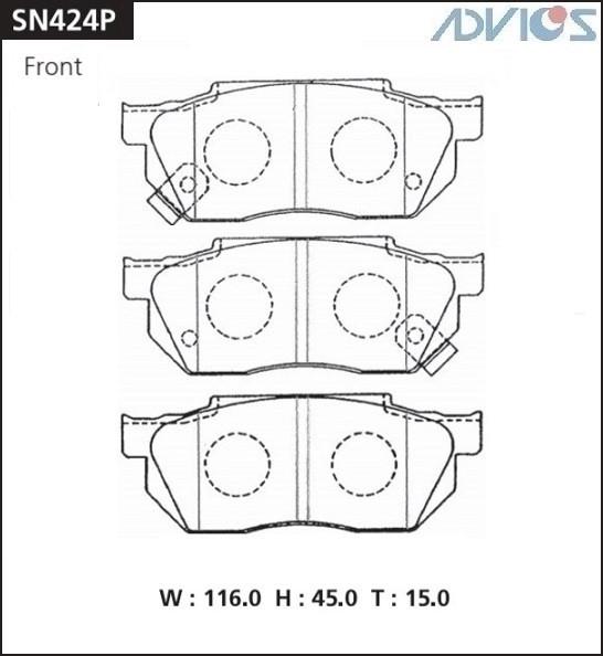 Дисковые тормозные колодки ADVICS SN424P SN424P купить в Абакане