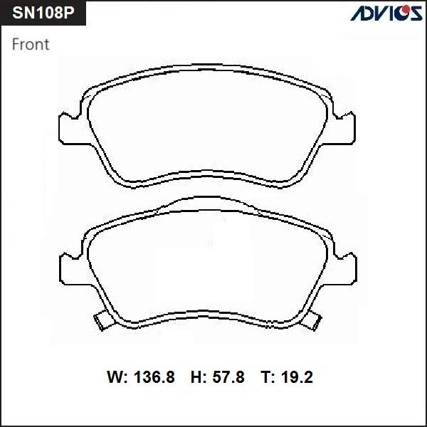 Дисковые тормозные колодки ADVICS SN108P SN108P купить в Абакане