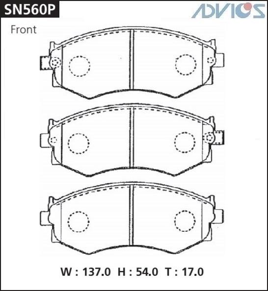 Дисковые тормозные колодки ADVICS SN560P SN560P купить в Абакане
