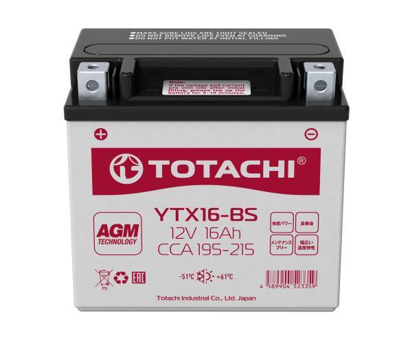 Аккумуляторная батарея TOTACHI CMF 16 а / ч YTX16-BS R AGM 4589904523359 купить в Абакане