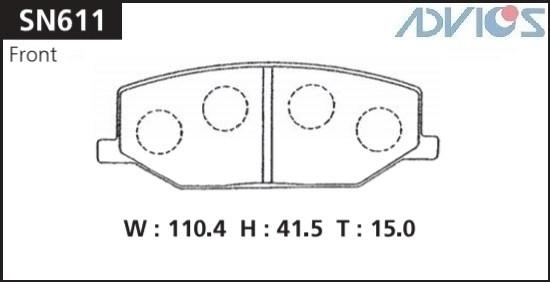 Дисковые тормозные колодки ADVICS SN611 SN611 купить в Абакане