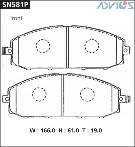Дисковые тормозные колодки ADVICS SN581P SN581P купить в Абакане