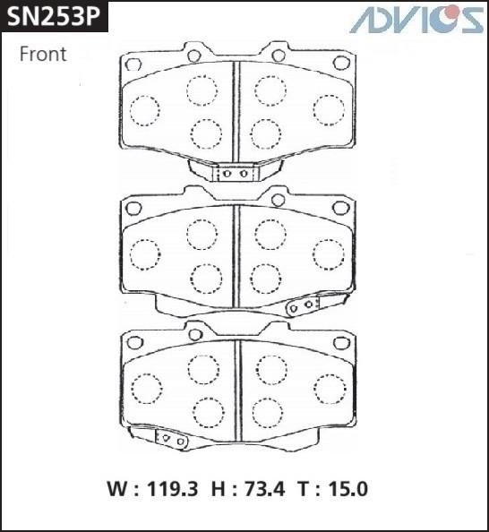 Дисковые тормозные колодки ADVICS SN253P SN253P купить в Абакане