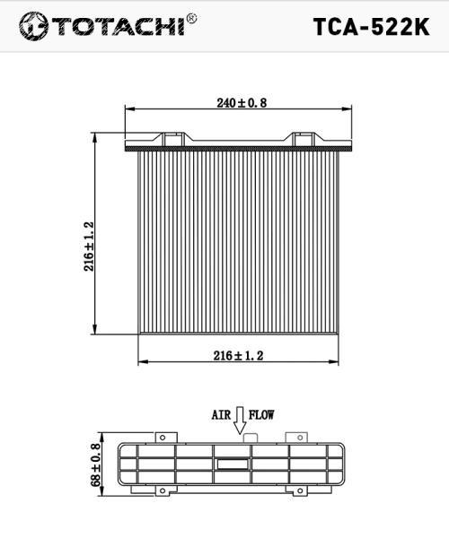 Фильтр салона, угольный TOTACHI TCA-522K MR500057 CUK22301 TCA-522K купить в Абакане